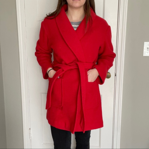 J Crew Belted Wrap coat in red wool